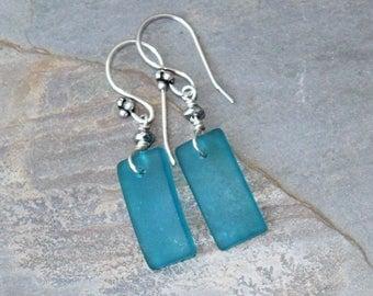 Turquoise Blue Earrings, Sea Glass Earrings, Handmade Earrings, Dangly Earrings, Rectangular Earrings, Geometric Earrings, Ocean Earrings