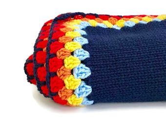 Childrens Knitted Granny Square Blanket in Blue Rainbow