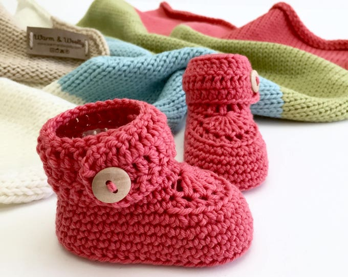 Featured listing image: Rainbow Knitted Baby Blanket and Booties in Alpaca and Merino Wool