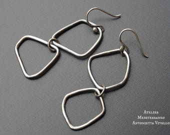 Drop Earrings in Sterling Silver With Irregularly Shaped Elements 02.