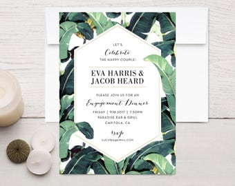 Tropical Plantation Banana Leaf Engagement Invitations