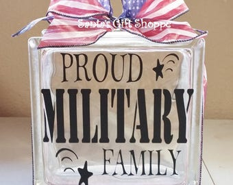 Military Decal, GlassBlock Lettering, Proud Family, Patriotic,Vinyl Lettering, stickers, Glass Block Crafts, 6.5in. x 6.5in.Christmas Gift