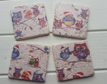 Whimsical Owls Stone Coaster Set of 4 Tea Coffee Beer Coasters