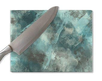 Glass cutting board, teal and gray