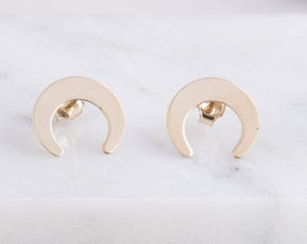 Small Crescent Moon Studs, Gold Upside Down Crescent Moon Earrings, Gift For Her, Everyday Earrings, Gold Horn Stud Earrings, Moon Studs
