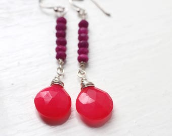 Bright Ruby Red Chalcedony Gemstone Earrings - Raspberries