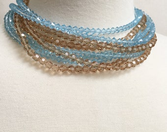 Signed Austria Beaded Choker Necklace, Vintage Jewelry, Statement Necklace, Crystal Bead Necklace, 9 Strand Multi Strand Vintage Choker Blue