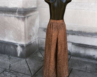 Vintage Metallic Copper and Black Palazzo Pants  small