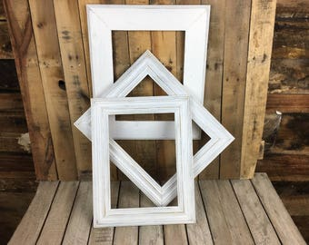 ON SALE - White Picture Frame Set of 3, Rustic Set, 1- 10x14,  2- 11x14 Photo Frame, Gallery Frame Set, Lot 303