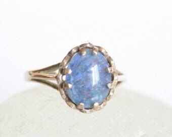 Vintage opal and sterling silver ring.  UK size L.  US size 5 3/4.  Vintage jewellery