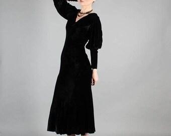 40% OFF SALE - Vintage 1930's Bias Cut Silk Velvet Dress