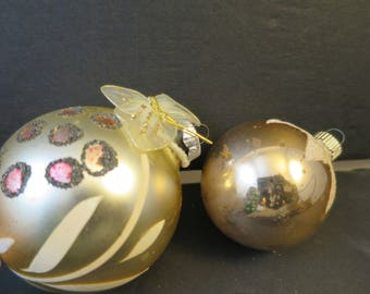 2 Mercury Glass Ornaments Flocked Hand Painted Champagne White Pink w/ Nylon Butterfly Vintage Gold Glitter Old Holiday Decorations