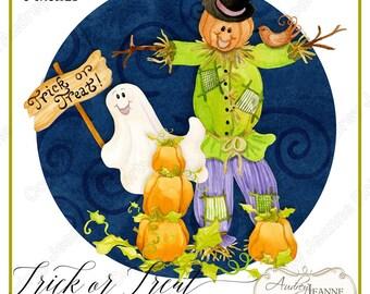 Watercolor Cute Halloween Fall Pumpkins, Digital Clip Art, Ghosts, Bats, Trick or Treat Clipart, Scarecrow, leaves, Children, kids,  E17-04B