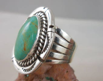 Vintage Native American Wide Band Green Turquoise Ring Signed J