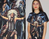 On SALE 40% Off - 1990s Vintage Tye Dye Indian Native American Indian Warrior Chief Spirit T Shirt - Vintage 90s Spirit Tees  - Wz0711