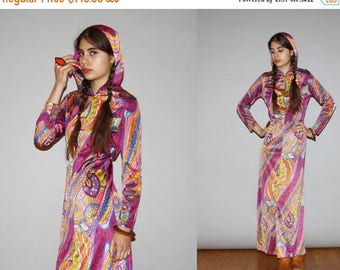 On SALE 35% Off - RARE 1960s Vintage Hooded Pasiley Ethnic Purple Psychedelic Mod Maxi Dress with Slits  - Vintage 60s Maxi Dress   - WB0420