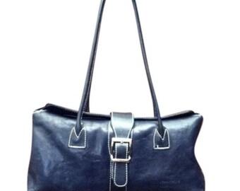 Vintage Vera Pelle Navy Blue Leather Shoulder Bag - Made In Italy