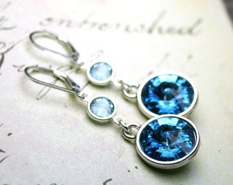 ON SALE Aqua Crystal Drop Earrings - Swarovski Crystal Rivoli Earrings in Aquamarine Blue - Sterling Silver Leverbacks