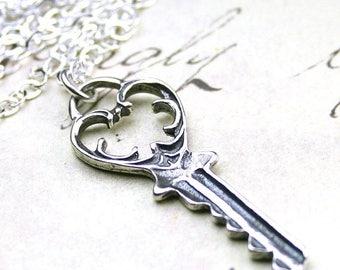 ON SALE Silver Key Pendant - Sterling Silver Vintage Swirled Heart Key Necklace