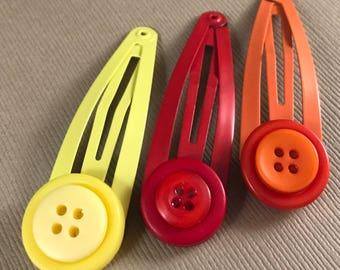 Hair clips, hair snaps, barette, red, yellow, orange