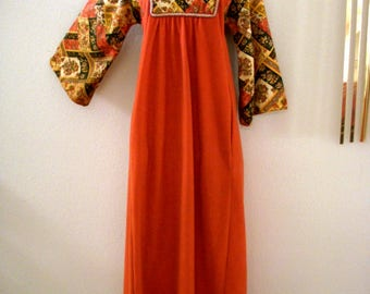 Vintage 70s Kimono Sleeve Maxi Dress - 1970s Boho Hippie Orange and Patchwork Long Lounging Dress by Evelyn Pearson - Boho Chic - Size Small