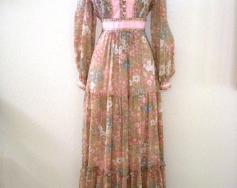 RESERVED 70s Boho Maxi Dress by Candi Jones - Beige and Pink Floral Hippie Maxi Dress - Taupe Flower Power Long Dress - Size Small to Medium