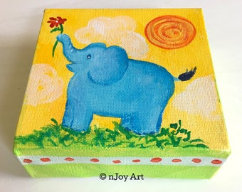 Blue Elephant, Daily Doodle, 4x4 acrylic canvas art gift