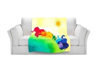 Elephant Rainbow Fleece Blanket,  Colorful Bedding, kids decor