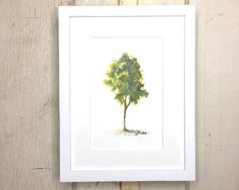 Original watercolor, painting, tree