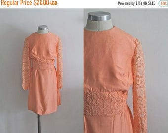 20% off SALE vintage 1960s girl's dress - RUBY GRAPEFRUIT peach lace dress / 8/9yr