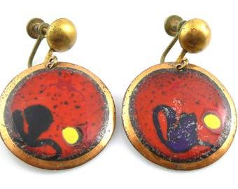 BIG Vintage 1950s 60s SIGNED Handmade Copper Enamel Abstract Modernist Design Screwback EARRINGS