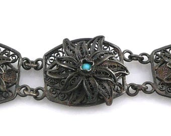 Antique Asian Chinese Silver Filigree & Turquoise Floral Design Link BRACELET