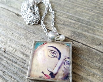 Blessed Mother Mary - metal and resin pendant