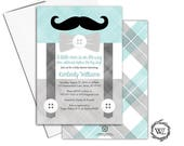 Mustache Baby Shower Invitation Boy, Seafoam Gray Mint, Printable or Printed - WLP00771