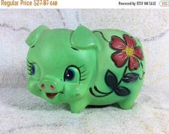 15% OFF Green Piggy Bank Ceramic 70s Retro Flower Kitsch Figurine