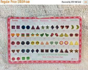 15% OFF 10 Percent OFF Vintage 90s Girls Stick on Earrings New Old Stock Earring Stickers 1994 Retro Cute Deadstock Unused