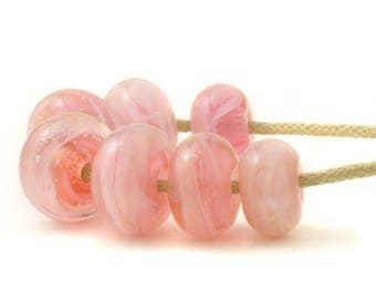 Pink Lampwork Beads | Small Pink Glass Beads | Cotton Candy Handmade Lampwork Glass Bead Set | Artisan Glass | UK SRA