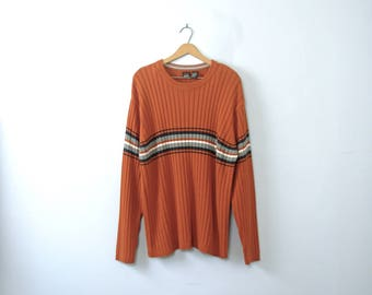 Vintage 90's pumpkin orange sweater, grunge sweater, oversized sweater, size XL