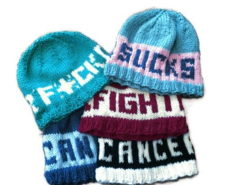 Cancer Sucks Beanie  Fight Cancer Hat  F Cancer Chemo Cap