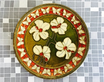 Vintage Ring Dish Enamel Copper Flower Green Dish Jewelry Dish Mid Century trinket bowl collectible wall plate
