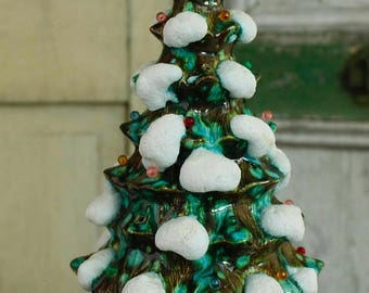 MOVING SALE Vintage Working Lighted Traditional Old Fashioned Petite Green Lighted Ceramic Christmas Tree, Collectible Vintage Tree