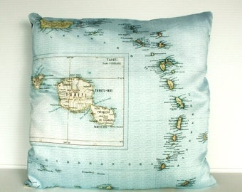 SALE SALE SALE Map print pillow/ Tahiti map print cushion/ Decorative pillow,  map cushion, 16x 16 inch cushion, throw pillow, cushion cover