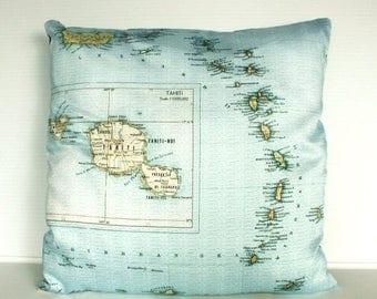 SALE SALE SALE Map print pillow/ Tahiti map print cushion/ Decorative pillow,  map cushion, 16x 16 inch cushion, throw pillow, cushion cover