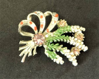 Scottish Lucky Heather Brooch.. .c.1960s... Diamante & Enamel... Signed Exquisite