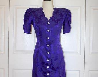 SALE 1980s Purple Brocade Wiggle Sheath Dress . Vintage Curvy 80s Party Dress . Rhinestone Buttons . All That Jazz . Size 7/8 USA
