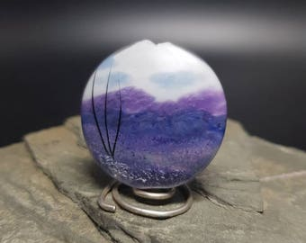 Lampwork Glass Focal Bead - handmade - Purple Hillside