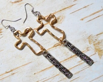 Blessed Cross Silver and Gold Earrings (3741)