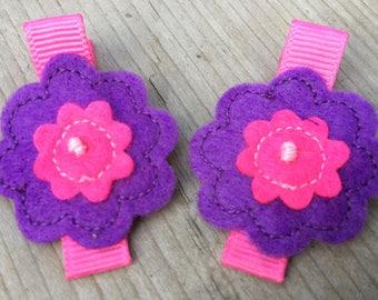 Felt Hair Clips Purple Pink - Fabulous Handmade Flowers - No Slip Grip