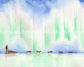 "Print of Original Watercolor ""Under The Lights"" by Sarah Marie Bevard Dogsled Art Dogsledding Alaska Northern Lights"