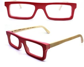 20% off SUMMER SALE customize TAKEMOTO Take handmade  square  red bamboo  prescription eyeglasses  Mjx1201 C0501
